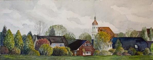 Blick auf das Lüsewitzer Schloss (c) Aquarell von Frank Koebsch