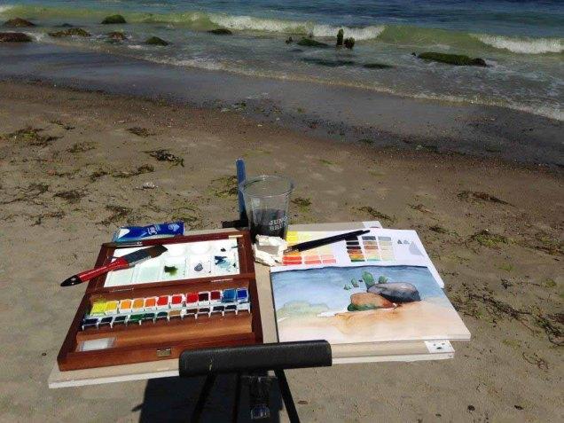Direkt an der Ostsee entstehen Aquarelle mit Steinen und Wellen (c) Kirsten Paulsen (1)