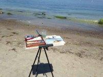 Direkt an der Ostsee entstehen Aquarelle mit Steinen und Wellen (c) Kirsten Paulsen (4)