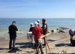 FRank Koebsch erklärt wie Steine und Buhnen im Aquarell gemalt werden können (c) kirsten Paulsen (1)