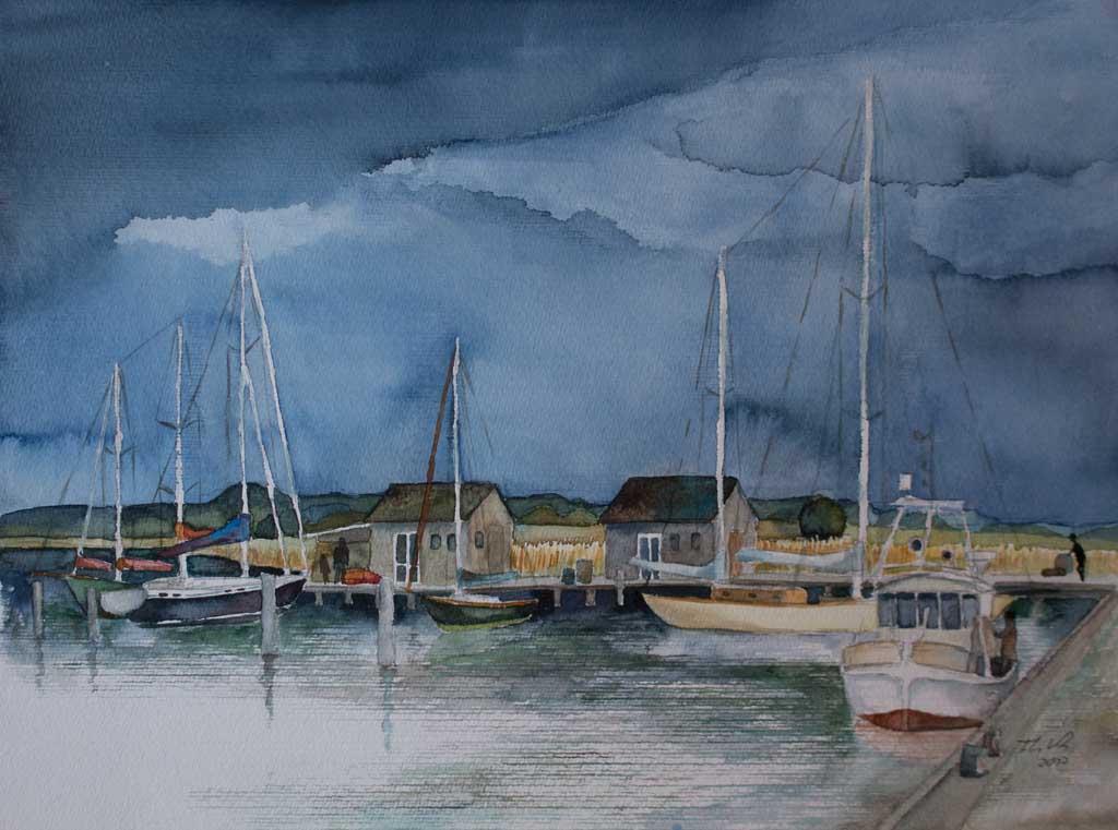 Hafen von Gager (c) Aquarell von Frank Koebsch
