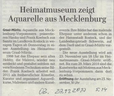 Heimatmuseum zeigt Aquarelle aus Mecklenburg - Ostsee Zeitung 2