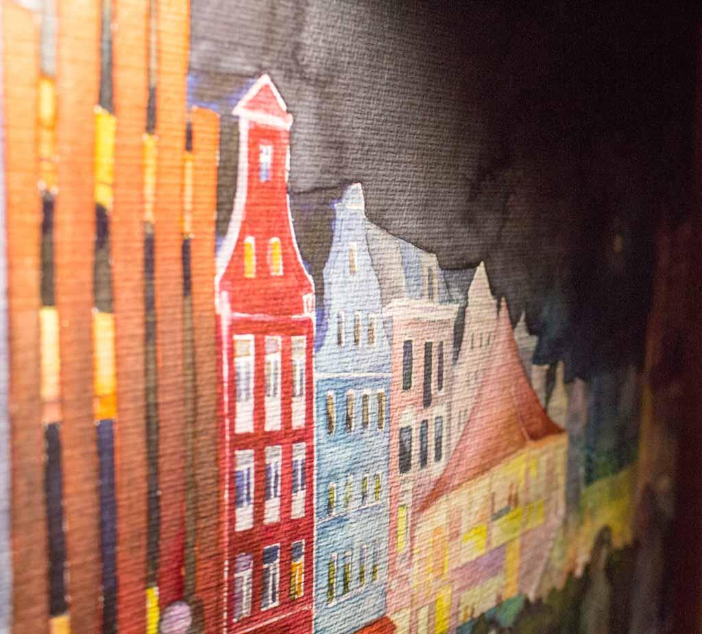 Lasuren mit lumineszierenden Aquarellfarben im Aquarell - Rostocker City - illuminiert (c) FRank Koebsch (1)