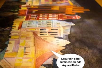 Lasuren mit lumineszierenden Aquarellfarben im Aquarell - Rostocker City - illuminiert (c) FRank Koebsch (2)