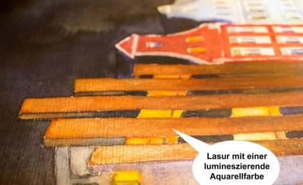 Lasuren mit lumineszierenden Aquarellfarben im Aquarell - Rostocker City - illuminiert (c) FRank Koebsch (4)