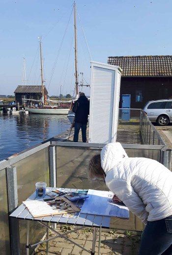 Malen im Hafen von Gager (c) Frank Koebsch (7)