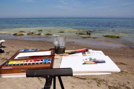 Malreise nach Kühlungsborn - Direkt an der Ostsee entstehen Aquarelle mit Steinen und Wellen (c) FRank Koebsch (1)