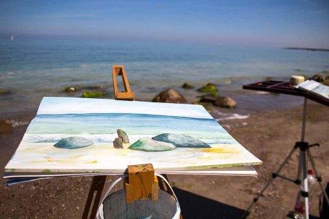 Malreise nach Kühlungsborn - Direkt an der Ostsee entstehen Aquarelle mit Steinen und Wellen (c) FRank Koebsch (2)