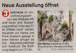 Neue Ausstellung öffnet - Der Güstrow Anzeiger berichtet über unsere Ausstellung - Wildes Land - im Wildpark MV 2017 09 15