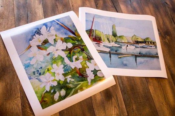Posterdrucke mit Ausschnitten aus den Aquarellen - Wildwuchs in der Obstblüte - und - Sommer am See (c) Frank Koebsch