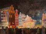 Rostocker City – illuminiert (c) Aquarell von Frank Koebsch