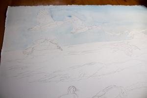 Schritt 1 - Vorzeichnung und erster Farbauftrag für den Himmel für das Aquarell - Party am Strand (c) Frank Koebsch