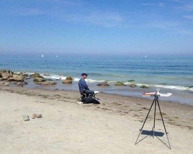Sonne und Meer und viel Platz - ideale Bedingungen zum Malen am Strand von Heiligendamm (c) Kirsten Paulsen