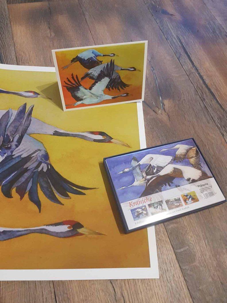 Das Kranich Aquarell - Vögel des Glücks - als Druck auf Hahnemühlepapier Albrecht Dürer, als Kunstkarte (c) Frank Koebsch (1)