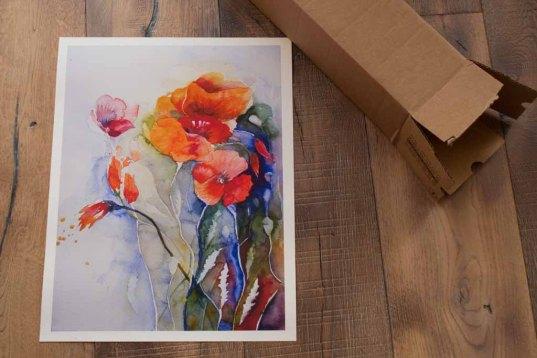 Das Mohnaquarell - Farben des Sommers - als Druck auf Hahnemühlepapier Albrecht Dürer (c) Frank Koebsch (1)