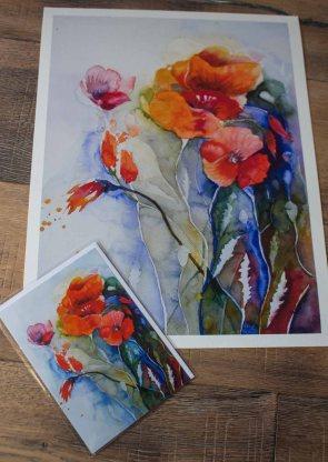 Das Mohnaquarell - Farben des Sommers - als Druck auf Hahnemühlepapier Albrecht Dürer und Kunstkarte (c) Frank Koebsch