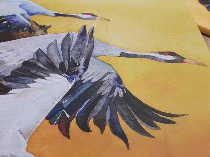 Details aus derm Druck auf Leinwand von dem Kranich Aquarell - Vögel des Glücks (c) FRank Koebsch