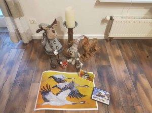 Druck und Kunstkarten von Kranich Aquarell - Vögel des Glücks (c) Frank Koebsch
