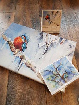 Eisvogel Aquarell als Druck auf Leinwand, Kunstkarte und Kalenderblatt (c) Frank Koebsch