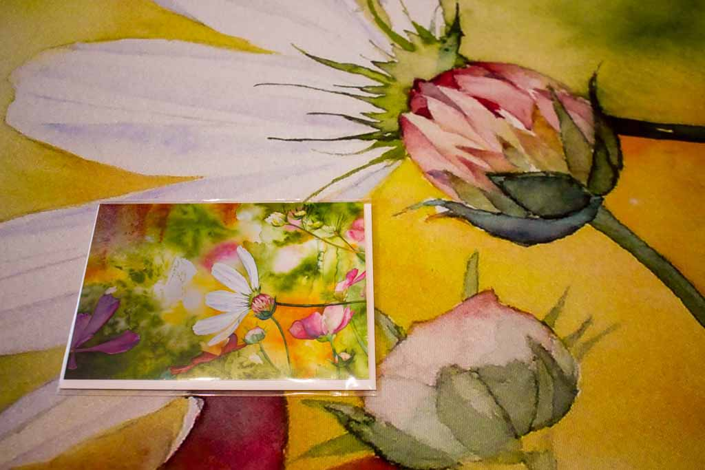 Kunstkarte und Details aus dem Druck des Aquarells -Farbspiele des Frühlings (c) FRank Koebsch