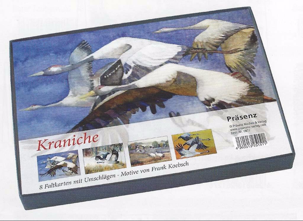 Kunstkarten-Box mit Kranich Aquarellen von Frank Koebsch im Präsenz Verlag