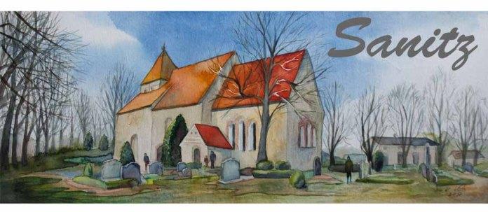 Motiv für eine Tasse mit dem Aquarell - Sanitzer Kirche in der Frühlingssonne (c) Frank Koebsch.