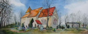 Sanitzer Kirche im Sonnenlicht (c) Aquarell von Frank Koebsch