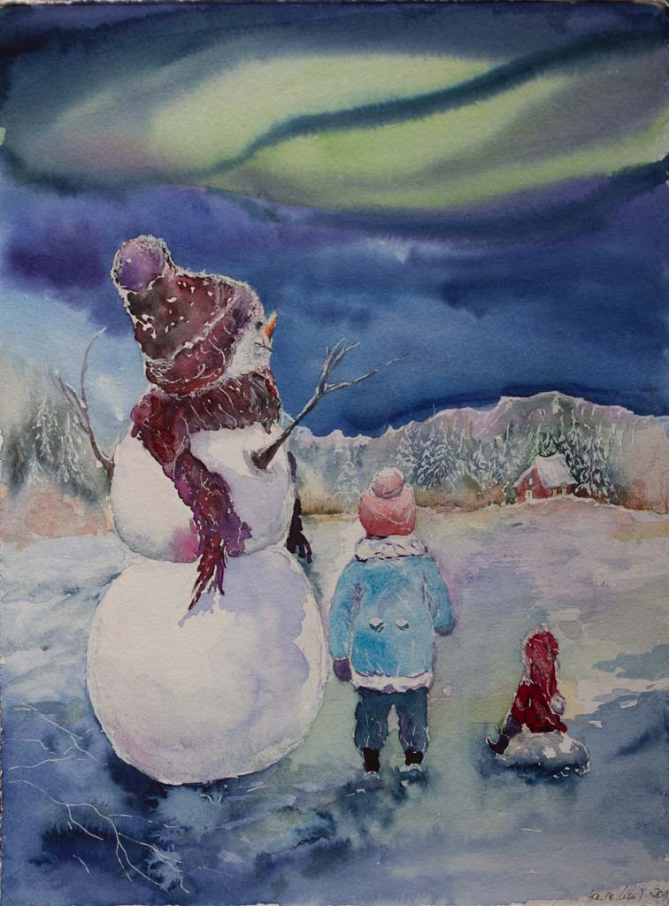 Unter dem Polarlicht (C) ein Schneemann Aquarell von Hanka Koebsch