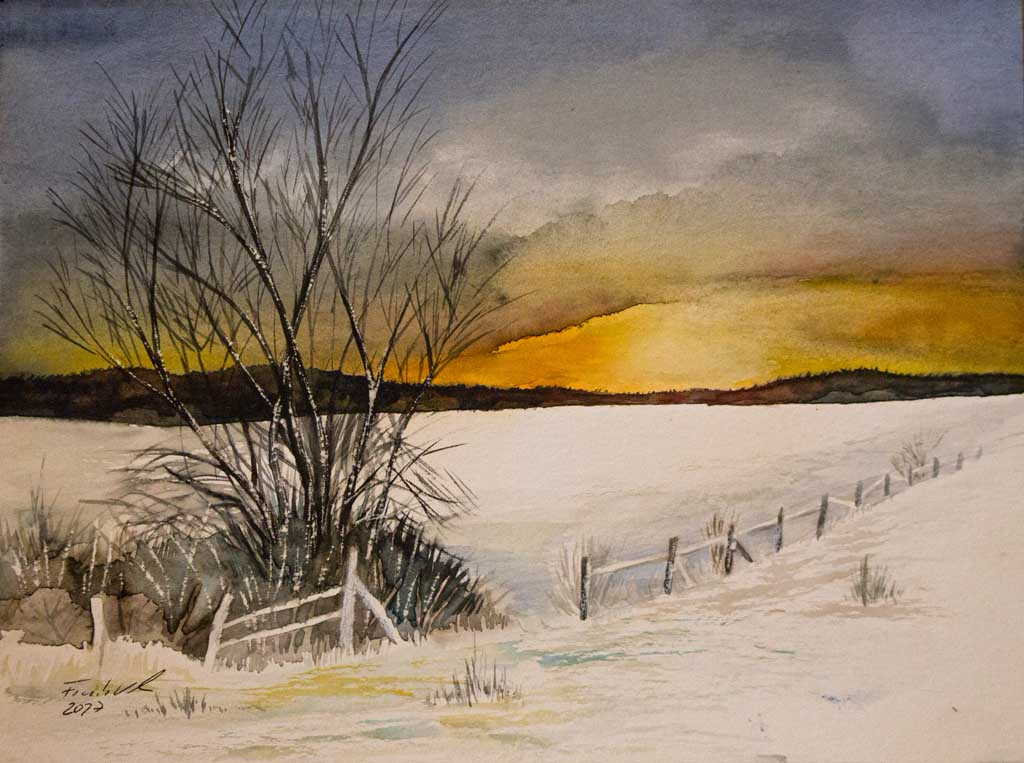 Winterabend (c) Aquarell von Frank Koebsch