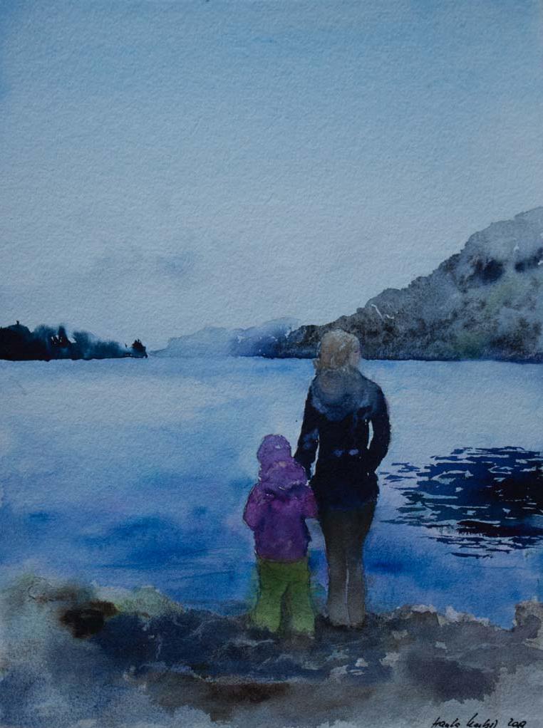 Wintermorgen am Fjord (c) Aquarell von Hanka Koebsch