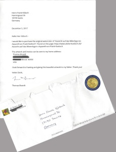 Brief aus den USA - Bestellug für das Aquarell - Aussicht auf das Mönchgut