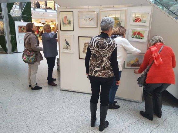 Malschüler aus den Aquarellkursen der VHS Rostock hängen ihre Bilder im Rostocker Hof (c) FRank Koebsch (4)