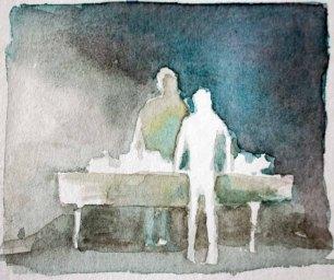 Menschen in Aquarell - Am Verhandlungstisch (c) Frank Koebsch
