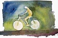 Menschen in Aquarell - Fahrradfahrer (c) Frank Koebsch
