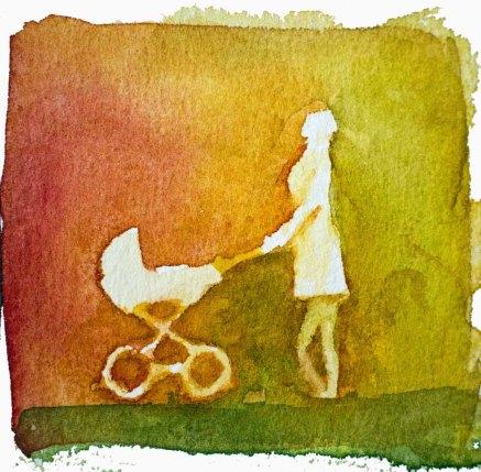 Menschen in Aquarell - Frau mit Kinderwagen (c) FRank Koebsch