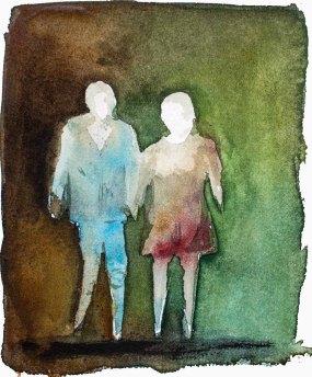 Menschen in Aquarell - Mann und Frau (c) Frank Koebsch