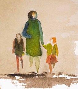 Menschen in Aquarell - Mutter mit zwei Kindern (c) FRank Koebsch
