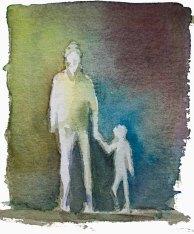 Menschen in Aquarell - Wenn der Vater mit dem Sohne (c) FRank Koebsch