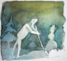Menschen in Aquarell - Winterdienst - Schneeschieben (c) FRank Koebsch