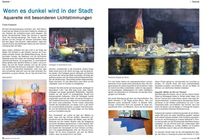 Palette 01 2018 S 22 - 23 - Wenn es dunkel wir in der Stadt - Aquarelle mit besonderen Lichtstimmungen - Frank Koebsch