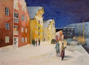 Winter am Kai von Tromsø (c) Aquarell von Frank Koebsch