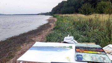 Aquarelle entstehen auf den Boddenwiesen am Having bei Alt Reddevitz (c) FRank Koebsch (1)