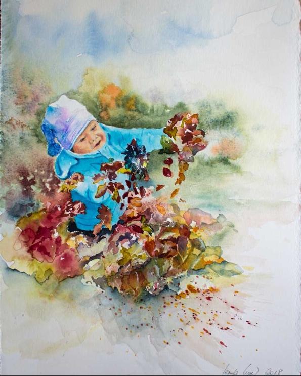Ich mal dann mal die Blätter bunt (c) Aquarell von Hanka Koebsch