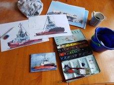Recherche für ein Aquarell eines Container Schiffes mit Schleppern (c) Frank Koebsch