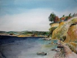 Reddevitzer Höft - Blick auf die Granitz (c) ein Rügen Aquarell von Frank Koebsch