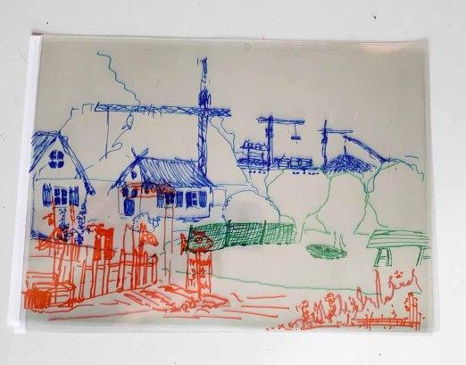 Arbeitsergebnis auf drei Folien im Workshop des BDK - Landschaftsmalerei mit FRank Koebsch (c) Frank Koebsch