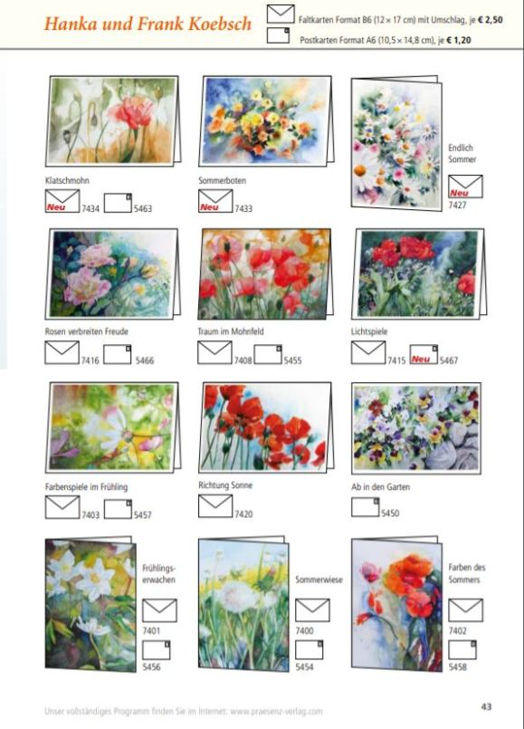 Kunstkarten vin Hanka & Frank Koebsch im Frühjahrsprogramm 2018 des Präsenz Verlages S 43