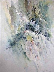 Wohnung mit Ausblick (c) ein Aquarell mit einem Wanderfalken von Hanka Koebsch