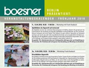 Aquarellkurse Apfelblüten auf Leinwand und Kischblüten bei boesner Berlin-Marienfelde (c) Frank Koebsch