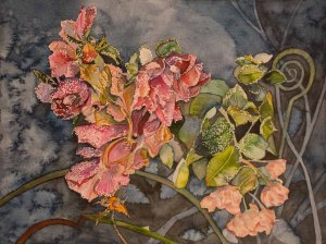 Eisblumen (c) ein Rosen Aquarell von Frank Koebsch